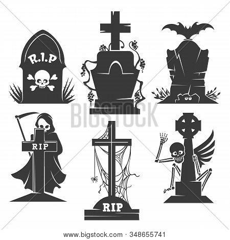 Headstones Death Symbols. Vector Evil Creepy Scenery Icons, Bat And Skeleton, Grim Reaper Or Scythem