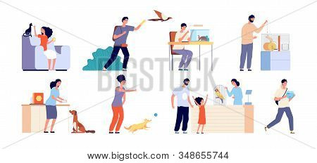 Pet Owner. Woman With Pets, Dog Adoption. Scenes People And Wild Or Domestic Animals. Humans With Ca