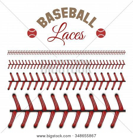 Baseball Laces Pattern. Leather Baseballs Objects Lacing Vector Texture, Softball Seams Threads With
