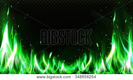 Realistic Green Fire Border, Burning Flame With Sparkles Isolated On Transparent Background. Bonfire