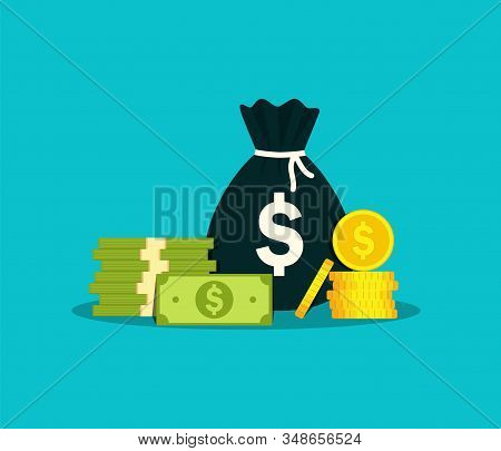 Money Bag For Salary. Moneybag With Million Cash In Flat Style. Sack Of Euro For Investment In Busin