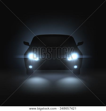 Car Headlights. Realistic Car With Bright Headlights In Dark, Rays Light And White Blur Shadows, Nig
