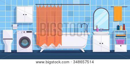 Bathroom. Modern Bathroom Interior Decor. Bath, Mirror And Wash Basin, Tub And Hygiene Accessories,