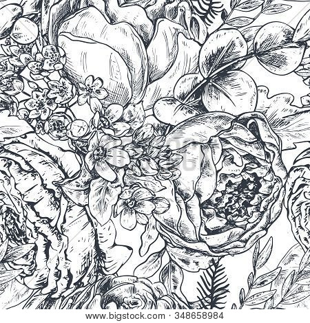 Seamless Pattern With Hand Drawn Peony Flowers And Plants In Sketch Style.