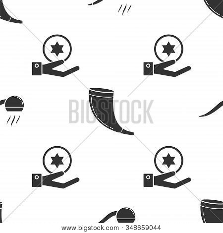 Set Smoking Pipe With Smoke, Traditional Ram Horn, Shofar And Jewish Coin On Hand On Seamless Patter