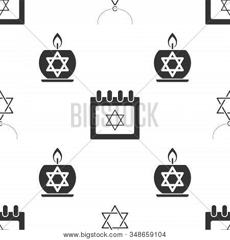 Set Star Of David Necklace On Chain, Jewish Calendar With Star Of David And Burning Candle In Candle