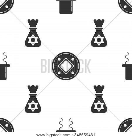 Set Orthodox Jewish Hat With Sidelocks, Jewish Coin And Jewish Money Bag With Star Of David On Seaml