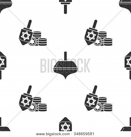 Set Hanukkah Dreidel, Hanukkah Dreidel And Hanukkah Dreidel And Coin On Seamless Pattern. Vector