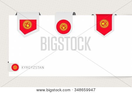 Label Flag Collection Of Kyrgyzstan In Different Shape. Ribbon Flag Template Of Kyrgyzstan Hanging F