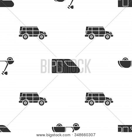 Set Scooter, Train And Off Road Car On Seamless Pattern. Vector