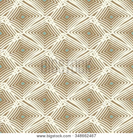 A Seamless Vector Abstract Geometric Pattern With Uneven Diamond Shapes In Calm Colors. Surface Prin