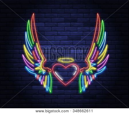 Illuminated Neon Heart With Angel Wings And Halo Sign. Light Electric Banner Glowing On Background O