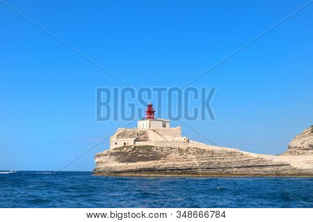 Lighthouse at coast on island Corsica near Bonifacio