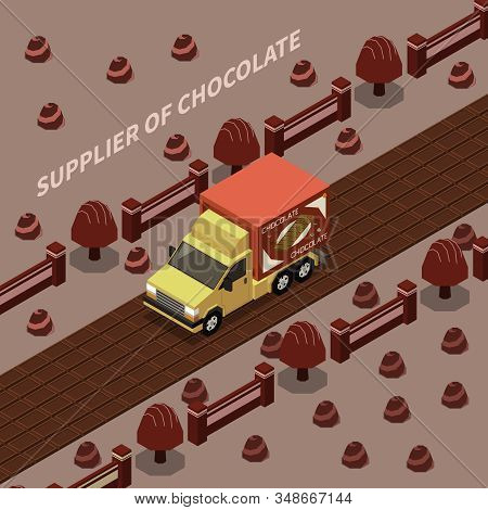 Supplier Of Chocolate Abstract Background With Delivery Truck Traveling At Chocolate Road Isomeric V