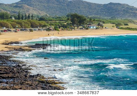 The rock at the beach of ocean in Hawaii, Honolulu, USA.