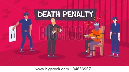 Death Penalty Composition With Prison Scenery And View Of Electrocution With Doodle Human Characters
