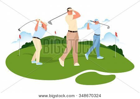 Man Play Golf. Man Holding A Golf Club And Hitting The Ball.