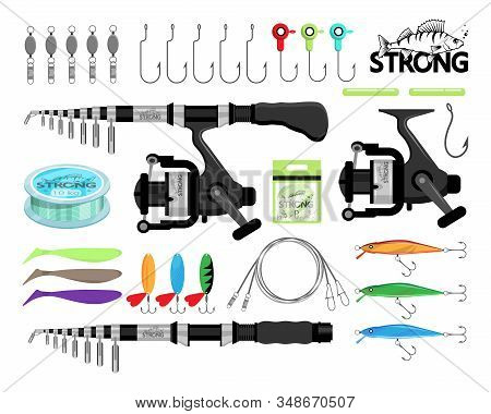 Spin Fishing. Rod Spinning. Fishing Equipment. Fishing Tools And Hook. Set Of Tackle, Fish, Rod, Spo