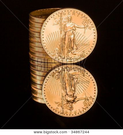 Reflection Of One Ounce Gold Coin Black