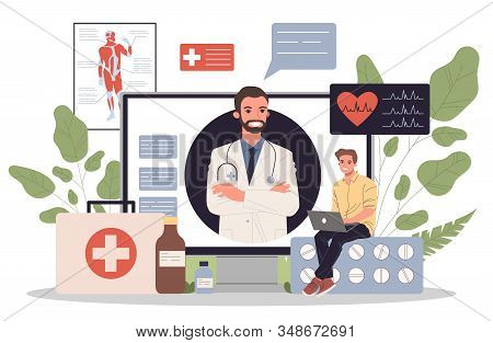 Online Doctor Vector Illustration. Young Patient With Laptop Chatting With Practitioner. Medical Con