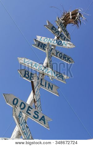 Guidepost In The Nessebar In Bulgaria With Blue Sky