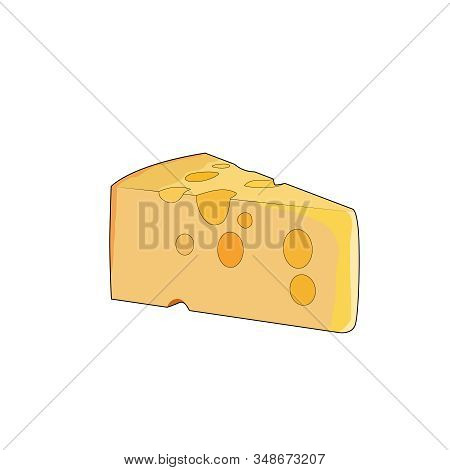 Yellow Swiss Slice Of Cheese. Cheddar Cheese With Holes. Vector Graphic Illustration