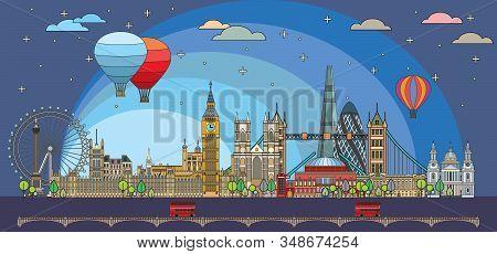 Colorful Vector Line Art Illustration Of London Landmarks In Twilight Time. London Skyline Vector Il