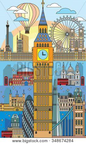 Colorful Vector Line Art  Illustration Of London Landmarks. Poster With London City Skyline Vector I