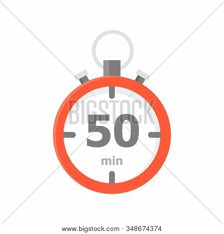 The Red Minute With The 50 Minute Is Depicted On A White Background.