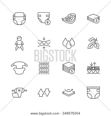 Baby Diaper Icon. White Clean Softly Pee Infant Absorbent Nappy Vector Symbol. Diaper Clean, Hygiene