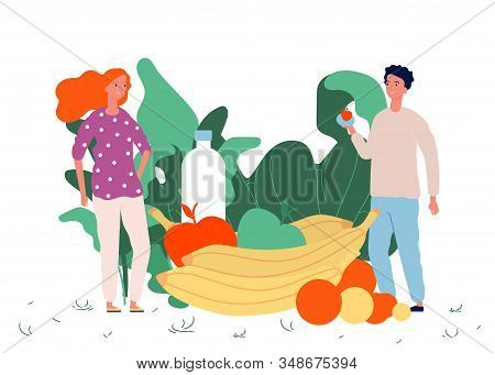 Healthy Food Concept. Vegan Lifestyle Vector Illustration. Fresh Fruits Greens And Happy Tiny People