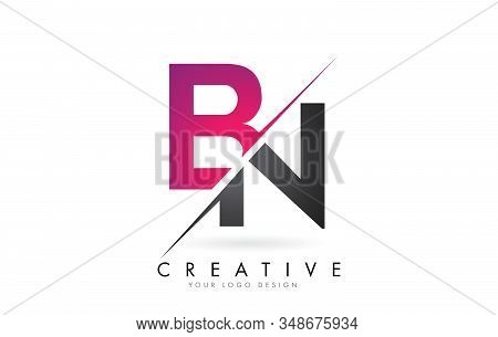 Bn B N Letter Logo With Color Block Design And Creative Cut. Creative Logo Design.