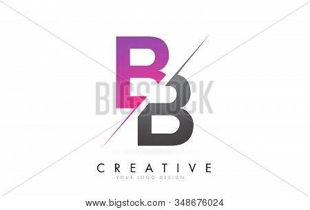Bb B B Letter Logo With Colorblock Design And Creative Cut. Creative Logo Design.