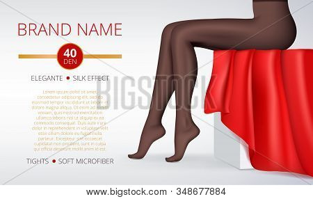 Woman Leggings. Advertising Picture Of Fashion Elegant Intim Female Clothes Beauty Tights Legs Vecto