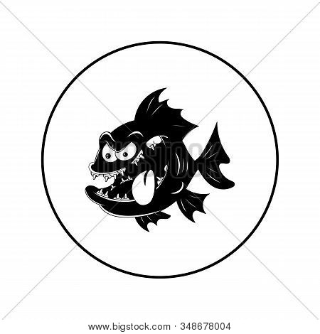 Big Toothy Fish. Vector Illustration In The Form Of A Round Black And White Icon For Websites.
