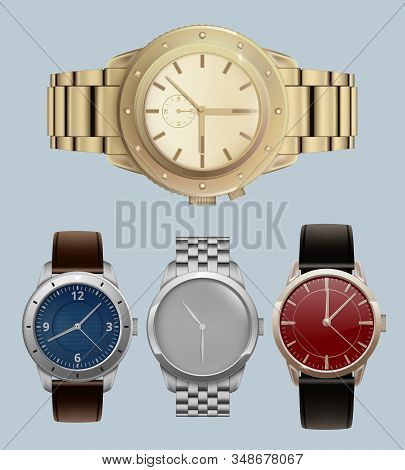 Men Watches. Luxury Style Expensive Bracelets With Modern Wrist Watches Vector Realistic Set. Clock