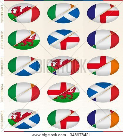 Collection Of Fifteen Rugby Matches For Rugby Tournament, Vector Flags Stylized Rugby Ball.