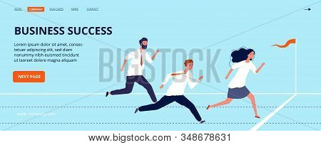 Business Success Landing Page. Office Workers Run To Finish Line. Group Of Top Managers, Leadership