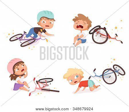 Bike Accident. Kids Fallen Damaged Bicycle Broken Transport Children Accidents Helping Person Vector