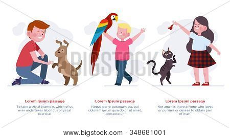 Kids Playing With Pets Set. Happy Boys And Girls Enjoying Cat, Dog, Parrot Flat Vector Illustration.