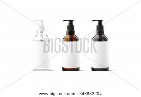 Blank Transparent, Amber, Black Glass Pump Bottle With White Label Mockup, 3d Rendering. Empty Clean