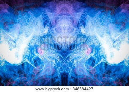 Pattern, Neon Pink, Blue  And  Purple Smoke In The  On A Dark Isolated Background. Background From T