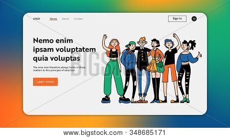 Team Of Classmates. Group Of Stylish Young People, Teenagers Friends Standing Together Flat Vector I
