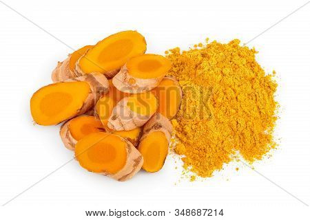 Turmeric Powder And Turmeric Root Isolated On White Background. Top View. Flat Lay