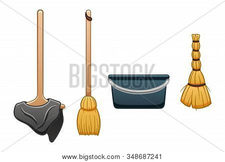Isolated Mop With Rag, Broom, Bucket And Besom For Cleaning