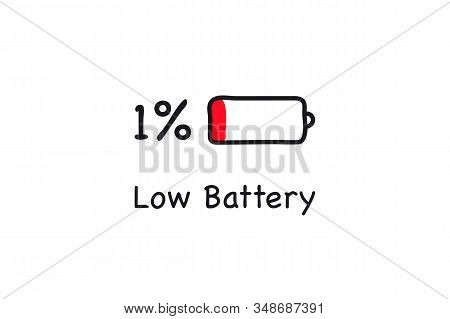 Low Battery Icon. One Percent Charging. Battery Low Energy. Battery Charge Icon. Electricity Symbol