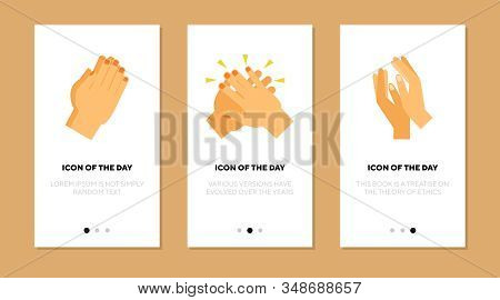 Applause Flat Icon Set. Human Palms, Clapping Hands, Applauding Isolated Sign Pack. Communication, A