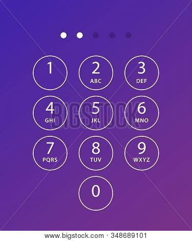 Phone Keypad. Keyboard Template In Touchscreen Device. User Keypad With Numbers And Letters For Phon