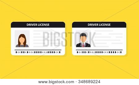 Driver License. Id Card. Identification Card Icon. Man And Woman Driver License Card Template. Vecto