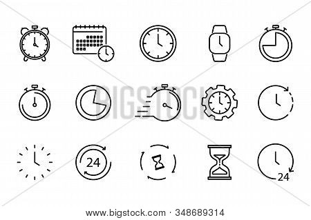 Time And Clock Set Of Linear Icons. Time Management. Timer, Speed, Alarm, Restore, Time Management,